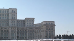 House Of Parliament In Bucharest Pan-Shot Stock Footage