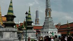 Thailand Bangkok 059 colorful pillars in royal palace Stock Footage