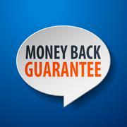 money back guarantee 3d speech bubble on blue background - stock illustration