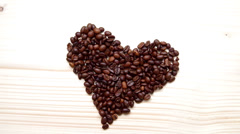 Heart of coffee beans Stock Footage