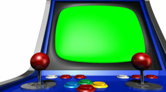 Arcade machine pan across green screen Stock Footage