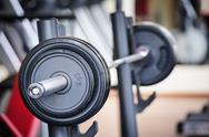 Stock Photo of barbell ready for workout, indoors, selective focus