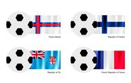 Stock Illustration of Soccer Ball with Faroe Islands, Finland, Fiji and France Flag