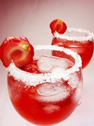 Alcoholic liqueur punch cocktails with cherry Stock Photos
