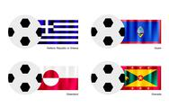 Stock Illustration of Soccer Ball with Greece, Guam, Greenland and Grenada Flag