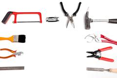 Frame of handheld tools and hardware Stock Photos