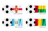 Stock Illustration of Soccer Ball with Guinea Bissau, Albania, Guatemala and Guinea Flag