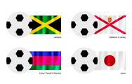 Stock Illustration of Football with Jamaica, Bailiwick of Jersey, Kuban and Japan Flag