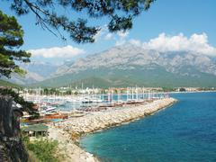 panoramic view of harbor and sea coast kemer turkey - stock photo