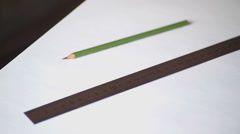 ruler and pencil - stock footage
