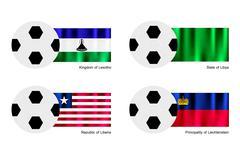 Soccer Ball with Lesotho, Libya, Liberia and Liechtenstein Flag Stock Illustration
