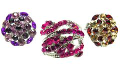 jewelry rings set with bright crystals - stock photo