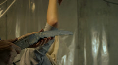 Killer with Saw - stock footage