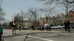 Boston Marathon African Runner Stock Footage