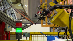 Automobile factory - window pasting Stock Footage