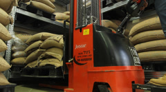 Working in Coffee Roasting factory with forklift Stock Footage