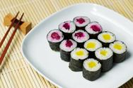 Stock Photo of cucumber sushi ready to eat