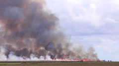 Telephoto footage of an intentional fire at a farm Stock Footage