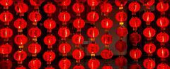 Red paper lantern at night Stock Photos