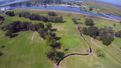 Smooth flyover of a golf course Stock Footage