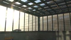 169 Berlin, Potsdamer Platz, buildings, escalator, panshot Stock Footage