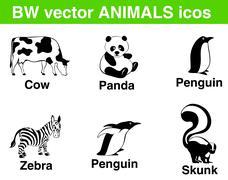 6 b/w vector animals icons. panda, cow, penguin, zebra, skunk in fancy poses. Stock Illustration