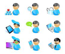Stock Illustration of 9 vector male avatar icons. 3d tv cinema glasses; mobile phone;