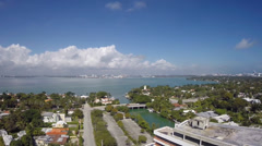 Panoramic footage of Miami Beach from an aerial view Stock Footage