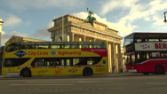 Stock Video Footage of 199 Berlin, Brandenburg Gate, traffic, sightseeing bus