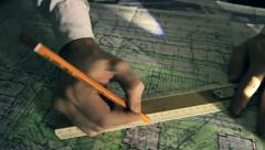Pencil on the map, magnifying glass, tube, Tobacco pipe Stock Footage