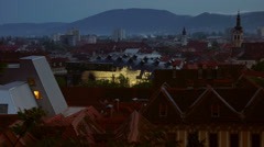 Modern building with facade neon lights at Art Museum in Graz Stock Footage