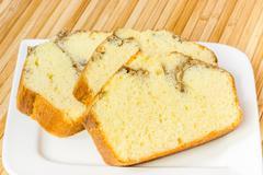 Pound Cake Slices Stock Photos
