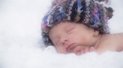 Cute Baby With Knitted Hat Close up Stock Footage
