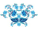 Stock Illustration of blue oriental ottoman design twenty-one
