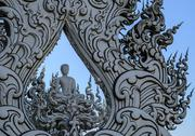 Stock Photo of buddha statue at wat rong khun, chiang rai province, thailand