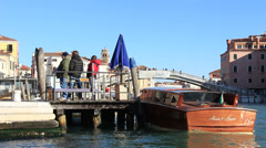 Boat awaits tourists in Venice Stock Footage