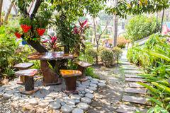 landscaped garden - stock photo