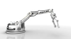 Robotic arm shows LCD screen. Technology 3d animation. Stock Footage