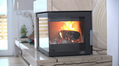 SLOW: Fireplace in House - stock footage