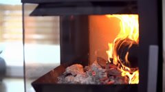 Fireplace from Side in Apartment - stock footage