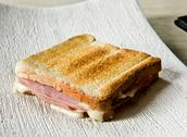 Stock Photo of crisp toasted ham and cheese sandwich