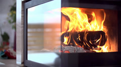 Massive Fire in Fireplace at Home Stock Footage