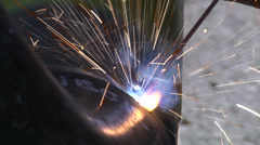 Welding tube of natural gas line Stock Footage