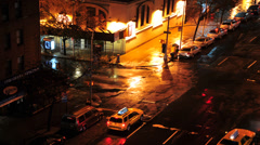 HD - NYC Steamy Intersection at Night- Time Lapse Stock Footage