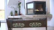 Stock Video Footage of Fireplace with Baby Crib in Front