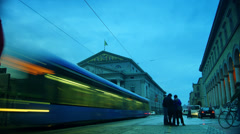 Rush hour and traffic near Bavarian State Opera, Munich, time lapse Stock Footage