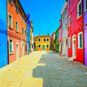 Stock Photo of venice landmark, burano island street, colorful houses, italy