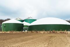 Biogas plant for energy - stock photo