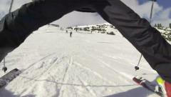 Skiing overriding camera Stock Footage