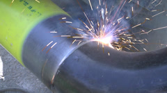 Welding tube of natural gas line - stock footage